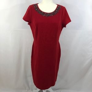 NWT Talbots Red Jeweled Pencil Dress Size 14